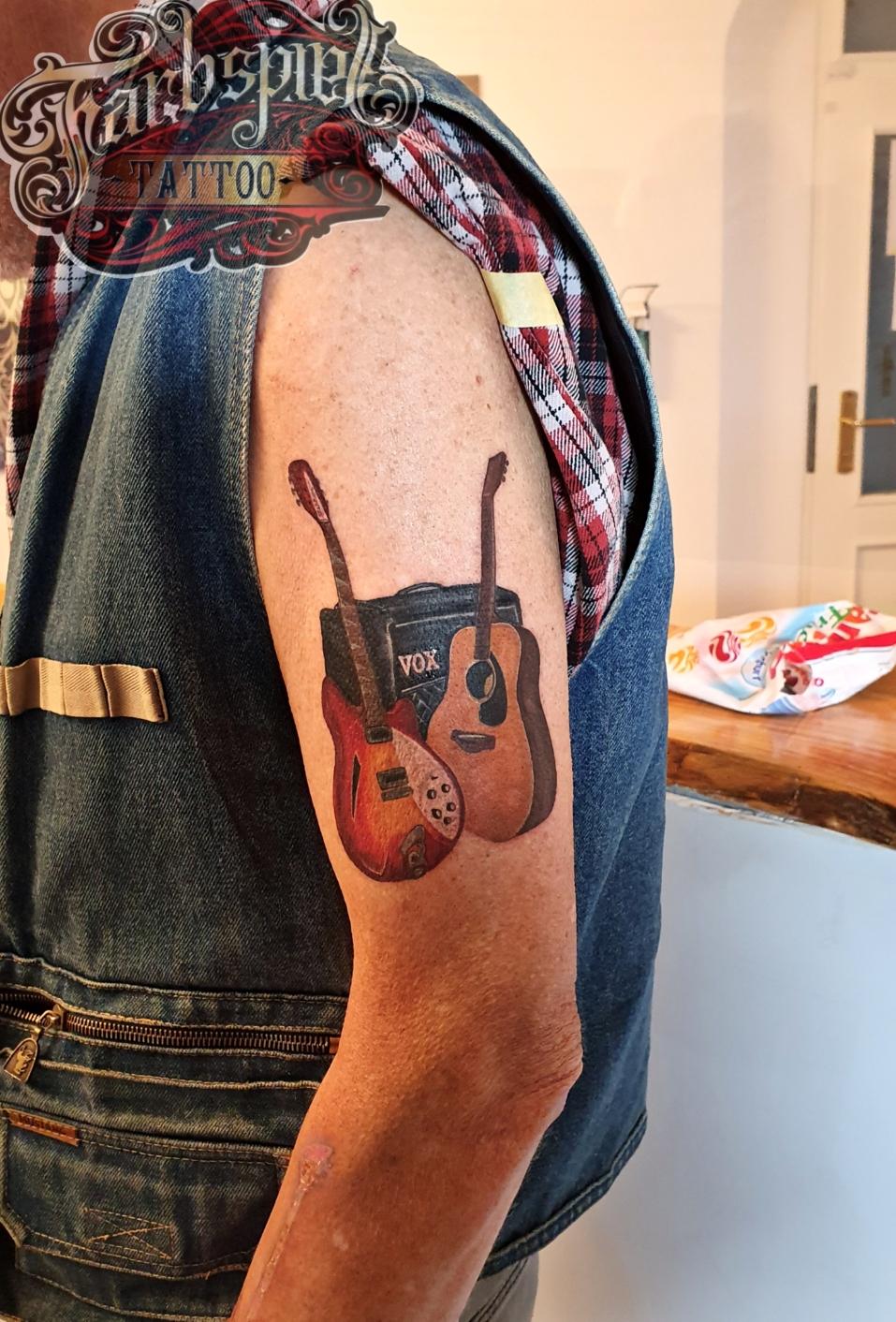 Music instruments tattoo