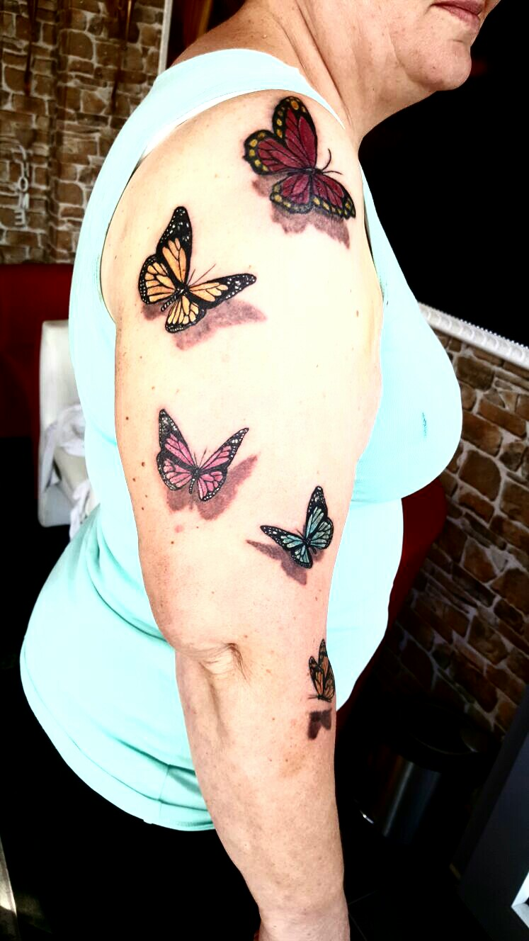 Schmetterlinge 3D Tattoo