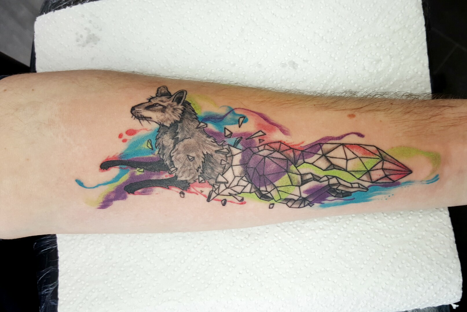 Watercolor-Geometric Wolf Tattoo