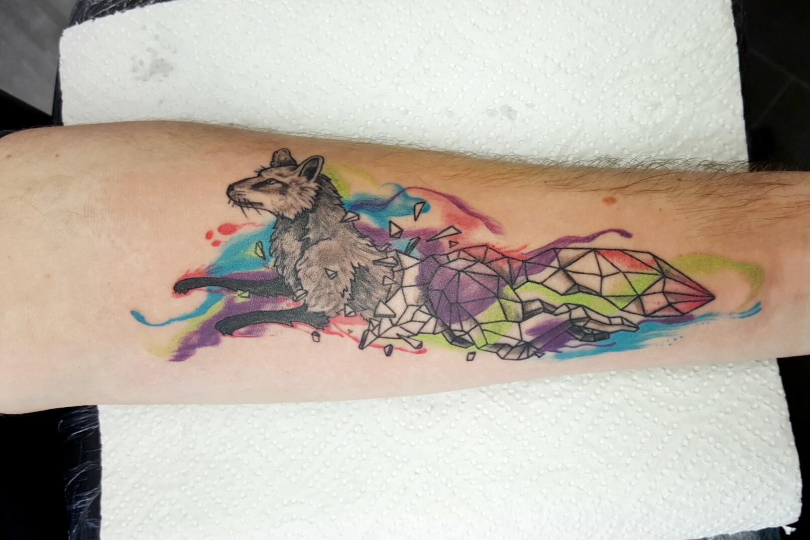 Watercolor-Geometric Wolf Tattoo