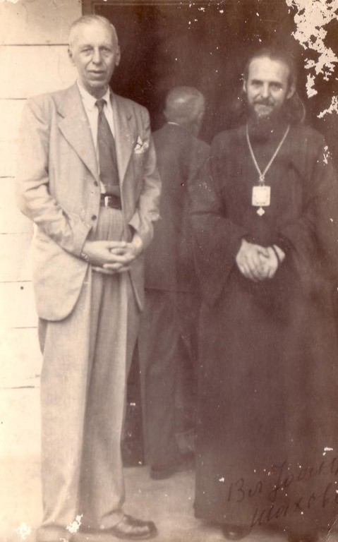 Sergei Balitzky and a priest at the entrance to the the Russian Orthodox Church in DP Camp in Kufstein, 1945-49.