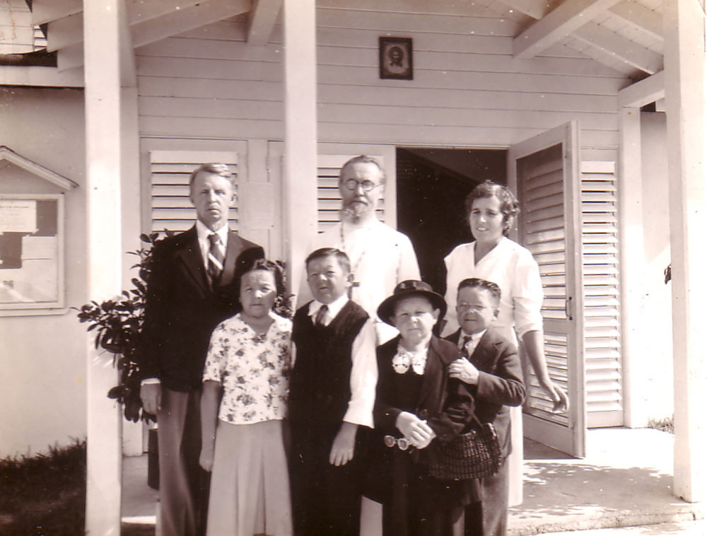 Upper row, left to right: Eugene Kogevin, Fr. Eugene Seletsky, Raissa Kogevin; bottom row, left to right: Maria Fillin Basil Fillin, Paulina and John Velikanoff
