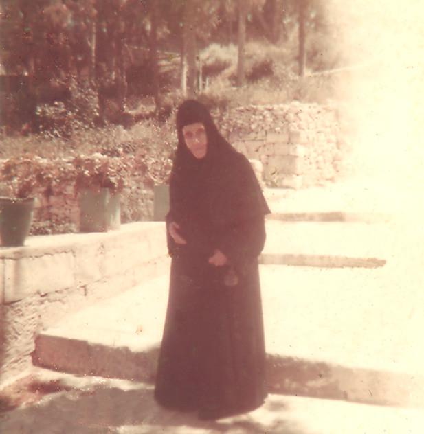 Glafira Ippolitovna Balitzky in the Gethsimany Monastery in Jerusalem. 1969.