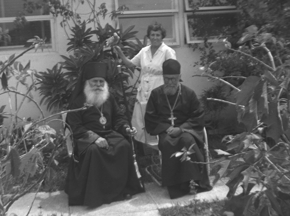 Left to right: Eugene Kogevin with  Archbishop Nikon of Florida and Fr. Theodor Rajewski, Miami, 1953