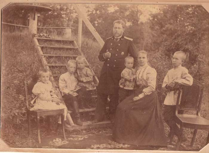 A group photo of the Kogevin family. Left to right: Zinaida, Constantin, Dmitry, Vladimir. Nikolai, Vera, Eugene