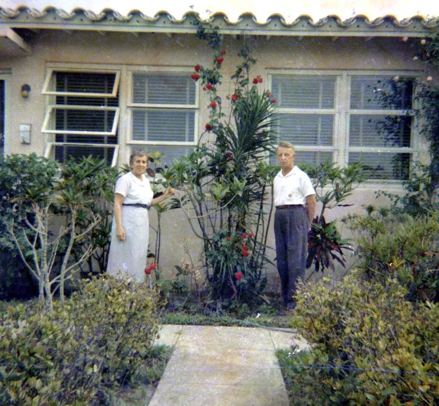 Raissa and Eugene Kogevin outside their house in Miami. 1964-1965.