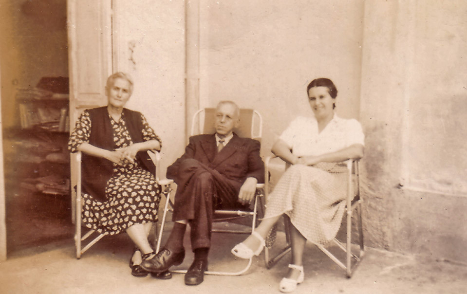 "Sergei Balitzky, Glafira Balitzky, Marina Balitzky. Caption on the reverse side: ""To our dear friends from our Zarandes this snap has been taken on Angel Day and on Marina's birthday, July 17, old style, 1949, Caracas."""