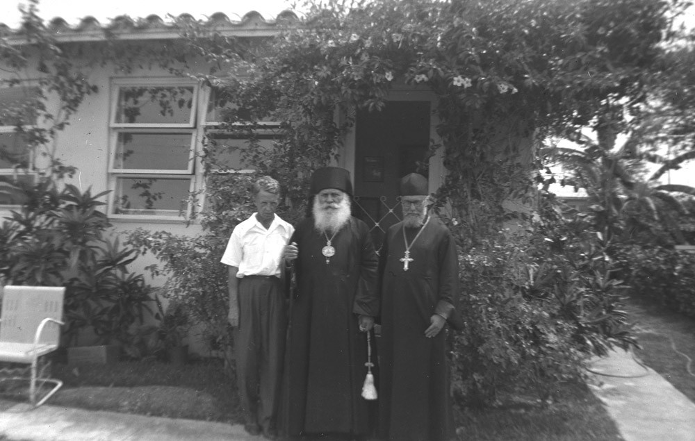Left to right: Eugene Kogevin, Archbishop Nikon of Florida, Fr. Theodor Rajewski, Miami, 1953