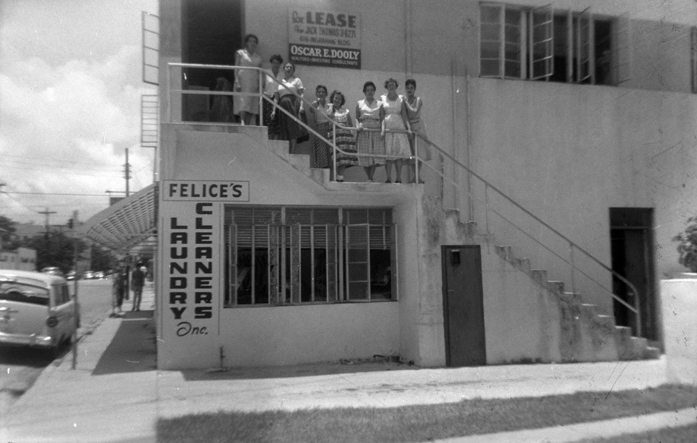 A group photo of Raissa's fellow-workers at a doll company. Miami, 1958.