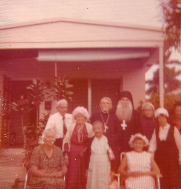 Maria Fillina among a group of parishioners