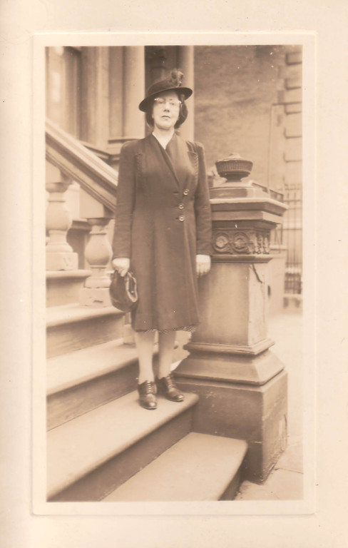 Alina Kogevin at the entrance to her house, New York, the 1940s