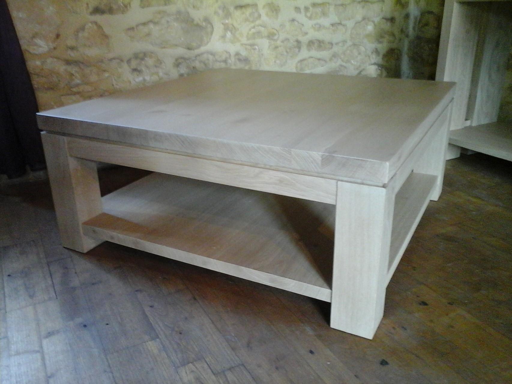 table basse 38cm de haut en chêne blanchie