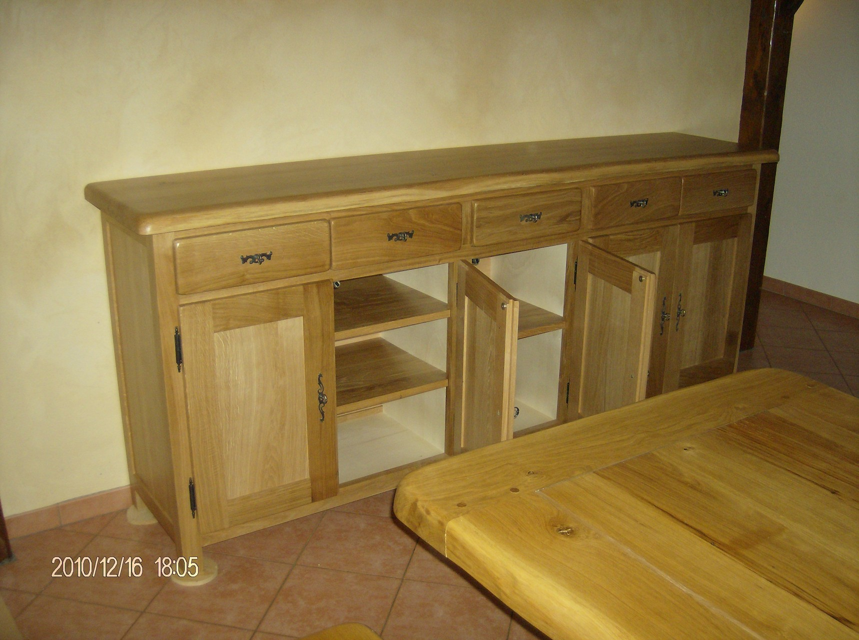 enfilade 4 portes 4 tiroirs en bois de chêne