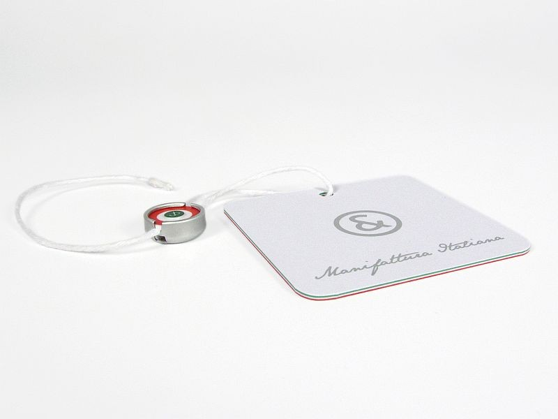 Hangtag with tricolor edges and special security metal & plastic seal with cotton string