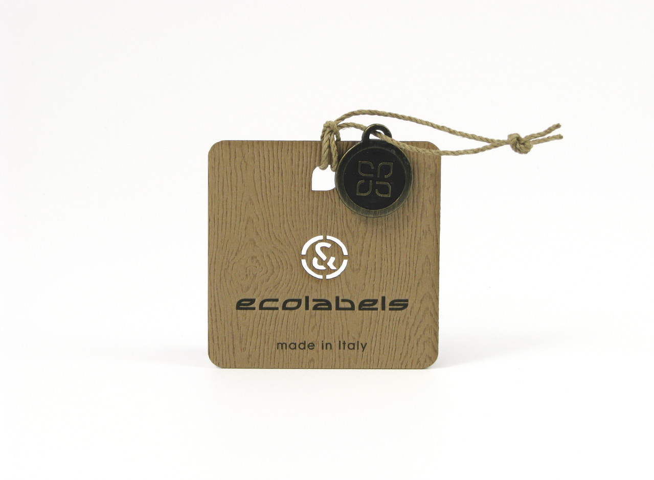 FSC WOOD-TEXTURE cardboard hangtag with LINEN string