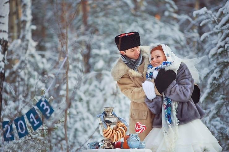 свадьба зимой в русском стиле фото