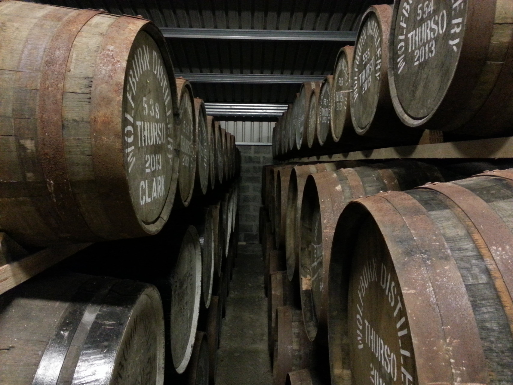 Casks at rest in the dunnage warehouse