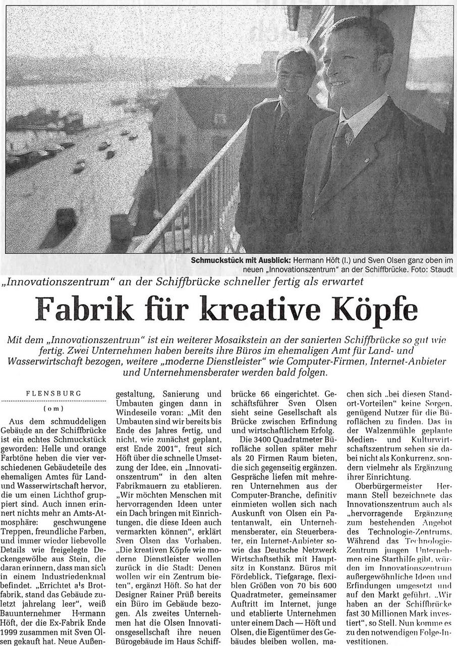 Flensburger Tageblatt vom 5. Oktober 2000