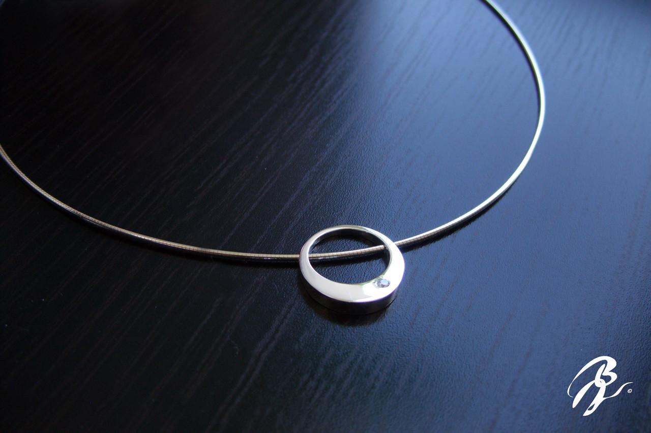 Pendentif Collier Rond Argent Zirconium