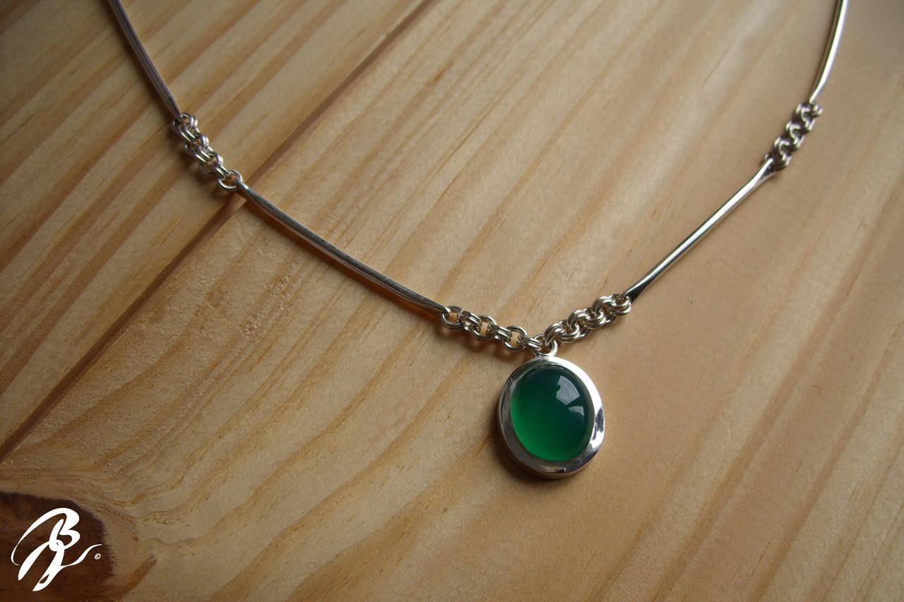 Colgante Collar Plata Ágata verde
