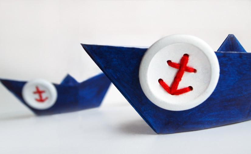 Alltagsabenteurer Alltagsabenteuer Anker Knöpfe DIY Handmade Kultur maritim Papier-Schiffe Schiffchen Buttons