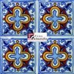Azulejo Talavera modelo Cruz Azteca en 10.5 x 10.5 cm, ideal para baños y cocinas mexicanas lo encuentras en Rústicos Artesanales visítanos en nuestra web www.rusticosartesanales.com
