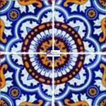 Azulejo Talavera modelo Rosario de 4 piezas en 10.5 x 10.5 cm, ideal para baños y cocinas mexicanas lo encuentras en Rústicos Artesanales visítanos en nuestra web www.rusticosartesanales.com