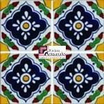 Azulejo Talavera modelo Guadalajara en 10.5 x 10.5 cm, ideal para baños y cocinas mexicanas lo encuentras en Rústicos Artesanales visítanos en nuestra web www.rusticosartesanales.com