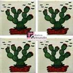 Azulejo Talavera modelo Nopalera en 10.5 x 10.5 cm, ideal para baños y cocinas mexicanas lo encuentras en Rústicos Artesanales visítanos en nuestra web www.rusticosartesanales.com
