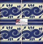 Azulejo Talavera modelo Greca Azul en 10.5 x 10.5 cm, ideal para baños y cocinas mexicanas lo encuentras en Rústicos Artesanales visítanos en nuestra web www.rusticosartesanales.com