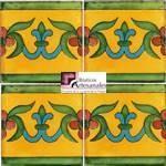 Azulejo Talavera modelo Guía Especial Mostaza con Turquesa en 10.5 x 10.5 cm, ideal para baños y cocinas mexicanas lo encuentras en Rústicos Artesanales visítanos en nuestra web www.rusticosartesanales.com