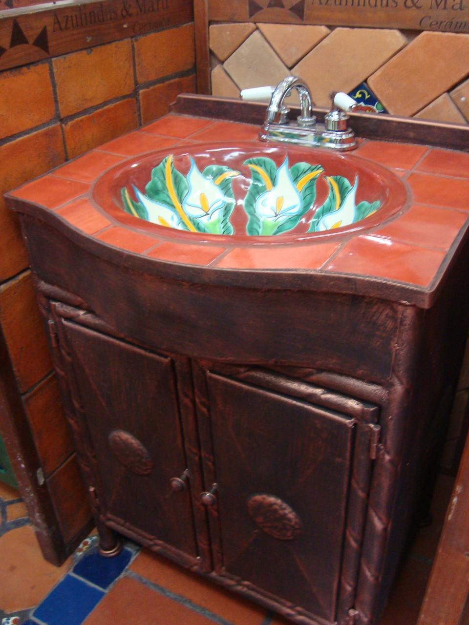 Muebles de talavera para ba os r sticos artesanales for Azulejos de bano rusticos
