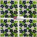 Azulejo Talavera modelo Violets Azul en 10.5 x 10.5 cm, ideal para baños y cocinas mexicanas lo encuentras en Rústicos Artesanales visítanos en nuestra web www.rusticosartesanales.com