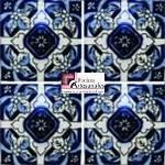 Azulejo Talavera modelo Diente de León Azul en 10.5 x 10.5 cm, ideal para baños y cocinas mexicanas lo encuentras en Rústicos Artesanales visítanos en nuestra web www.rusticosartesanales.com