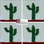 Azulejo Talavera, mosaico modelo Cáctus en 10.5 x 10.5 cm, ideal para baños y cocinas mexicanas lo encuentras en Rústicos Artesanales visítanos en nuestra web www.rusticosartesanales.com