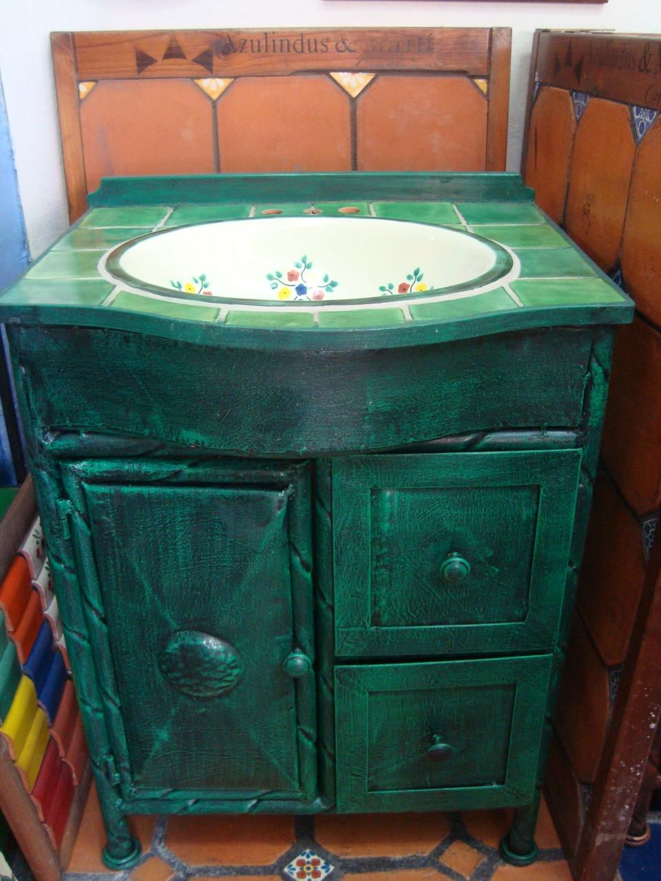 Muebles de talavera para ba os r sticos artesanales for Muebles rusticos de madera para banos