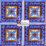 Azulejo Talavera modelo Rosa de los Vientos en 10.5 x 10.5 cm, ideal para baños y cocinas mexicanas lo encuentras en Rústicos Artesanales visítanos en nuestra web www.rusticosartesanales.com