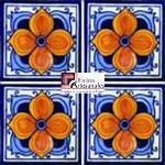 Azulejo Talavera modelo Flor Árabe en 10.5 x 10.5 cm, ideal para baños y cocinas mexicanas lo encuentras en Rústicos Artesanales visítanos en nuestra web www.rusticosartesanales.com