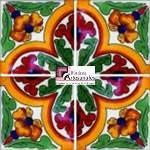 Azulejo Talavera modelo Primavera de 4 piezas en 10.5 x 10.5 cm, ideal para baños y cocinas mexicanas lo encuentras en Rústicos Artesanales visítanos en nuestra web www.rusticosartesanales.com