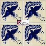 Azulejo Talavera modelo Golondrina con Ramo Azul en 10.5 x 10.5 cm, ideal para baños y cocinas mexicanas lo encuentras en Rústicos Artesanales visítanos en nuestra web www.rusticosartesanales.com