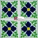 Azulejo Talavera modelo Tlaquepaque Azul en 10.5 x 10.5 cm, ideal para baños y cocinas mexicanas lo encuentras en Rústicos Artesanales visítanos en nuestra web www.rusticosartesanales.com