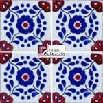 Azulejo Talavera modelo Hacienda Az/Tc en 10.5 x 10.5 cm, ideal para baños y cocinas mexicanas lo encuentras en Rústicos Artesanales visítanos en nuestra web www.rusticosartesanales.com