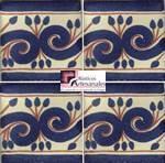Azulejo Talavera modelo Greca Azul con Terracota en 10.5 x 10.5 cm, ideal para baños y cocinas mexicanas lo encuentras en Rústicos Artesanales visítanos en nuestra web www.rusticosartesanales.com
