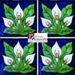 Azulejo Talavera modelo Alcatráz de 3 Flores Azul en 10.5 x 10.5 cm, ideal para baños y cocinas mexicanas lo encuentras en Rústicos Artesanales visítanos en nuestra web www.rusticosartesanales.com