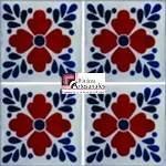 Azulejo Talavera modelo Tlaquepaque Terracota en 10.5 x 10.5 cm, ideal para baños y cocinas mexicanas lo encuentras en Rústicos Artesanales visítanos en nuestra web www.rusticosartesanales.com