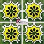 Azulejo Talavera modelo Arabesque Verde/Amarillo en 10.5 x 10.5 cm, ideal para baños y cocinas mexicanas lo encuentras en Rústicos Artesanales visítanos en nuestra web www.rusticosartesanales.com