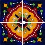 Azulejo Talavera modelo Cúpula de 4 piezas en 10.5 x 10.5 cm, ideal para baños y cocinas mexicanas lo encuentras en Rústicos Artesanales visítanos en nuestra web www.rusticosartesanales.com