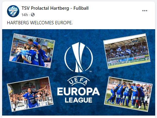 TSV Hartberg qualifiziert sich für die Europa League. Bilder der Fussballmannschaft und Europa League Logo.
