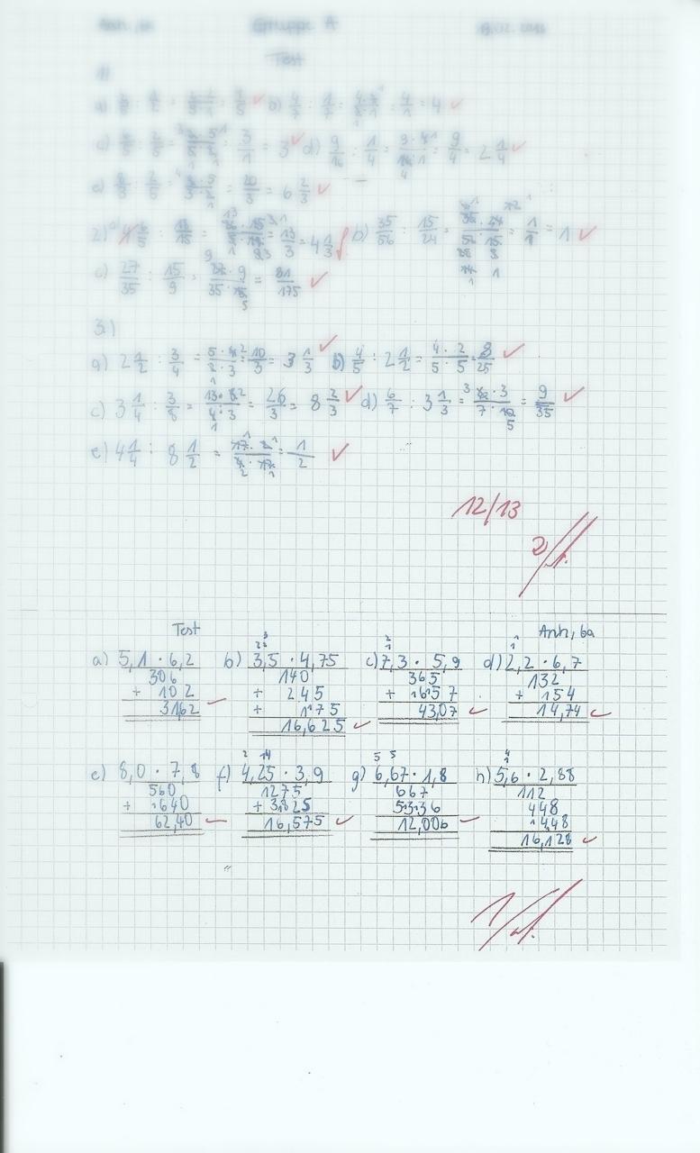 Mathetest Klasse 6 Brüche/Dezimalbrüche