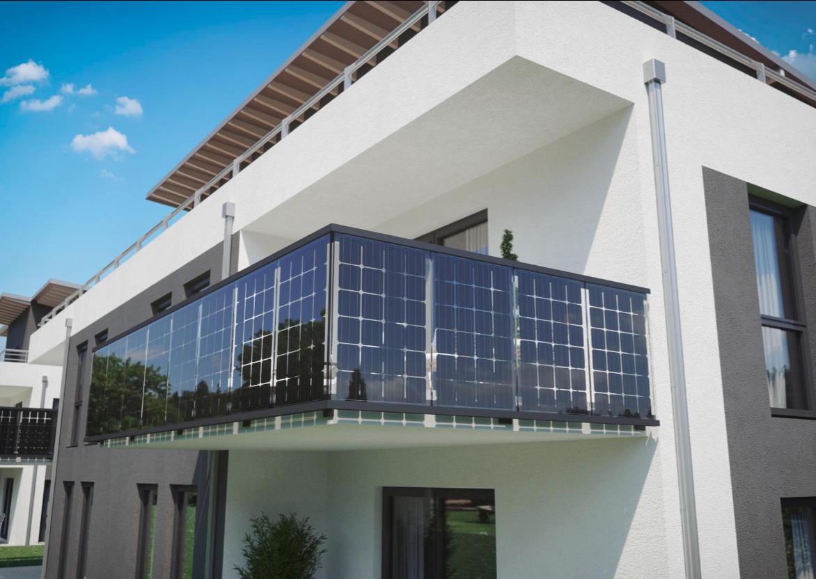 Solar Balkongeländer vorgesetzte / seitliche Montage